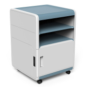 Vertical File Cabinets, Storage Cabinet with 2 Open Drawers with a Combination Lock, Coded-lock Rolling Cabinet for Documents, Pencil, Pens, Files, and Other Office Essentials, 42cm Deep - Blue