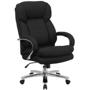 Flash Furniture HERCULES Series 24/7 Intensive Use Big & Tall 230kg. Rated Black Fabric Executive Swivel Chair with Loop Arms