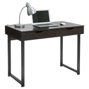 LANGRIA Modern Small Black Computer Desk with Drawers Study Home Office Furniture, Writing Desk Black Desk, 100cm x 60cm x 70cm