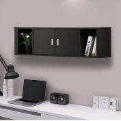 Topeakmart Wall Mounted Floating Desk Hutch with Doors & Shelves Home Office Black Brown