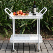 Indoor/Outdoor Rolling Bar Serving Cart with 2 Tier Removable Shelves Made with Wicker/Rattan and Metal in White 80cm H x 46cm W x 80cm D""