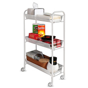 Creatwo Rolling Cart 3 Tier Metal Kitchen Cart Utility Cart on Wheels for Kitchen/Bathroom/Office Organisation, White