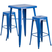 Flash Furniture 60cm Square Blue Metal Indoor-Outdoor Bar Table Set with 2 Square Seat Backless Stools