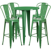 Flash Furniture 80cm Round Green Metal Indoor-Outdoor Bar Table Set with 4 Cafe Stools