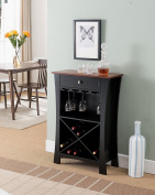 Kings Brand Hiland Bar Cabinet Wine Storage With Glass Holders & Drawer, Black