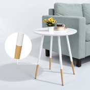 WOHOMO Round Coffee Table Small Table Side Table Round Office End Table Corner Table for Bedroom & Living Room Pine Wood Table Surface and Metal Legs End Tables for Plants Magazines Coffee Saucer