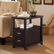 Yaheetech Chairside Table with 2 Drawer and Shelf Narrow Nightstand for Living Room