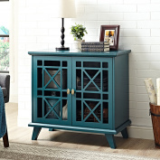 WE Furniture 80cm Fretwork Accent Console - Blue