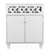 iKayaa Floor Cabinet with 2-Door Shelved Storage Cabinet Bedroom Bathroom Furniture