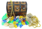 WellPackBox Wood Toy Large Treasure Chest Box Plastic Gold Coins Gems Jewels Necklace and Pirate Commission