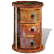 Festnight Reclaimed Solid Wood Round Cabinet with 3 Drawers, 30cm x 30cm x 46cm