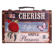 SiCoHome Old Vintage Style Suitcase with Straps,Leather Decorative Box