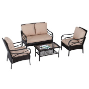 Outsunny 4pc Rattan Wicker Outdoor Patio Furniture Conversation Set - Coffee/Brown