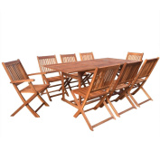 FestnightGarden Outdoor Furniture Complete Patio 9 pcs Dining Set, Acacia Wood