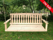 Songsen Outdoor Unfinished 1.2m Wooden Porch Swing Chair Patio Deck Garden Furniture