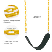 Tooltoo Heavy Duty Swing Seat Swing Set Accessories Swing Seat Replacement with 150cm Coated Chains for Kids, Green and Yellow