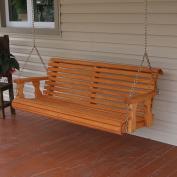 Amish Heavy Duty 360kg Roll Back 1.2m Treated Porch Swing - Cedar Stain