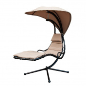 SunLife Porch Swing Patio Hanging Chaise Sling Hammock Lounger Chair with Arc Stand, Canopy, Cushion