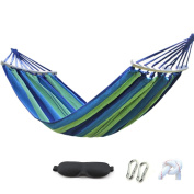 HappyGo Camping Hammock Cotton Canvas Beach Swing Bed with Spreader Bar for Backyard, Porch, Balcony, Indoor or Outdoor Use Support to 270kg Width 150cm