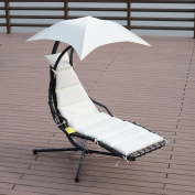 Outsunny Outdoor Hanging Chaise Lounger Chair w/ Canopy and Stand - Black/Cream White