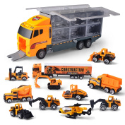 Joyin Toy 11 in 1 Die-cast Construction Truck Vehicle Car Toy Set Friction Powered Play Vehicles in Carrier Truck