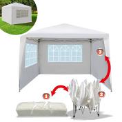 EZ POP UP Wedding Party Tent 3mx3m Folding Gazebo Beach Canopy W/Carry Bag with sidewalls side panel