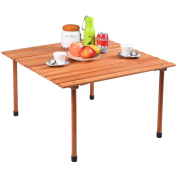 Costway Wood Roll Up Portable Table for Outdoor Camping, Picnics, Beach w/ Carrying Bag