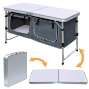 BenefitUSA Outdoor Folding Table 120cm Aluminium Lightweight Camping Picnic Table Adjustable Height with Storage Organiser