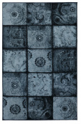 Mohawk Home Free Flow Artefact Panel Blue Patchwork Printed Area Rug, 2.1m1.8m x 3m, Blue