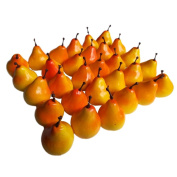 30pcs Artificial Lifelike Simulation 3.3cm Mini Pears Fake Fruits Photography Props Model