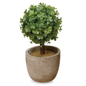 The Realistic Faux Curly Leaf Boxwood Ball Topiary, Grey Stone Pot, 14cm Tall, Mixed Materials, By Whole House Worlds