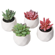 Artificial Plants ,Amyhomie Set of 4 Mini Fake Succulent Plants with Pots for Home Weeding Office Decoration