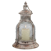 Stonebriar Antique White Metal Candle Lantern, Use As Decoration for Birthday Parties, a Rustic Wedding Centrepiece, or Create a Relaxing Spa Setting, For Indoor or Outdoor Use