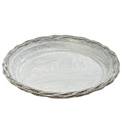 The Farmer's Market Willow and Galvanised Decorative Tray, Rustic Wicker With Metal Liner, 0.3m Diameter, By Whole House Worlds