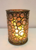 Champagne Hurricane Candle Holder with FlameWave Realistic Flame