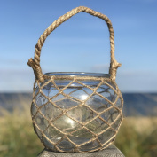 The Mariners Lobster Pot Netted Hurricane Candle Lantern, Globe Shape, Clear, Jute, Rope Handles, Glass, 18cm Diameter, 17cm Tall, By Whole House Worlds