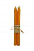 100% Pure Beeswax Handmade Taper Candles (Orange) - 25cm Dripless Pair - Natural Subtle Honey Smell - Elegant Honeycomb Design
