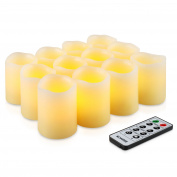 Kohree Flameless LED Candles Real Wax Remote Control Candles Battery Operated Retro Unscented Ivory Votive Pillar Candles Light, Warm White