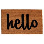 Home & More Natural/Black Script Hello Doormat, 0.3m x 0.6m