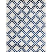Mercer41 Bombaye Hand-Knotted Ivory/Blue Area Rug