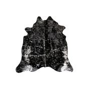 Rosdorf Park Alverson Hand Woven Cowhide Black Area Rug