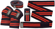 Weight Lifting Knee Wraps.Heavy Duty, Elasticated Knee Support for Squatting, Powerlifting, Olympic Lifting and CrossFit 180cm long and 7.6cm wide
