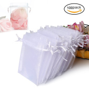 100PCS Premium Sheer Organza Bags, White Wedding Favour Bags with Drawstring, 10cm x 12cm Jewellery Gift Bags for Party, Jewellery, Festival, Bathroom Soaps, Makeup Organza Favour Bags