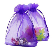 Organza Gift Bags with Drawstring 5'' x 7'', G2PLUS 100 PCS Organza Jewellery Bags, Sheer Drawstring Gift Pouches for Christmas Wedding Party Favours