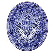 NOVICA Floral Ceramic Plate, Blue and White, 'Colonial Lady'