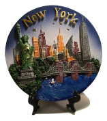 New York City Souvenir Plate with 3D Statue of Liberty, Empire State Bldg. Freedom Tower, Chrysler Bldg. Brooklyn Bridge & Hudson River - New York City Souvenirs