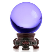 Amlong Crystal 3 inch (80mm) Purple Crystal Ball with Redwood Lion Resin Stand