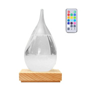 Creative Storm Glass, Pawaca Water Drops Remote Control Multicolor Desktop Weather Forecast Predictor Bottle Crafts Barometer with Wooden Base, Christmas Birthday Gift, Home Decoration