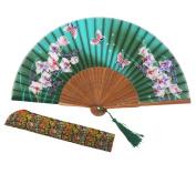 """Amajiji 8.27""""(21cm) Chinese Vintage Retro Style Hand Held Folding Fans or Girls Women"""