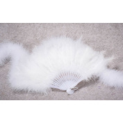 HUELE 4PCS White Feather Hand Fan for Costume, Halloween, Party, Dance